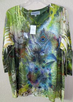 COWGIRL Artsy RHINESTONES PEACOCK Feather Shirt TUNIC top NWT XL X-Large BAHA RANCH WESTERN WEAR EBAY SELLER ID SOLOEDITION