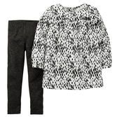 With a bold animal print, this soft woven top is a fun match for sparkle leggings. Plus, an easy 2-piece set means she's out the door in no time!<br>
