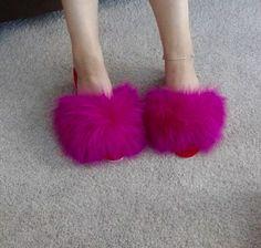 Slipper Sandals, Shoes Sandals, Fur Accessories, Fur Slides, Fox Fur, Furs, Boudoir, Slippers, Retro