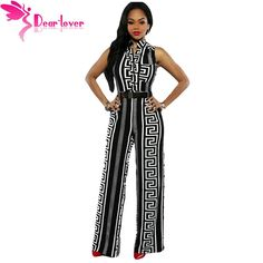 d239b59066fa Hot offer Dear lover Stylish Long Jumpsuits For Women Black Print Gold  Belted Summer Overalls Combinaison Sexy Playsuits 2017
