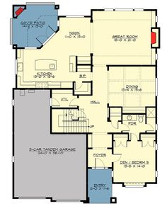 Appealing Northwest Bungalow House Plan - 23653JD floor plan - Main Level