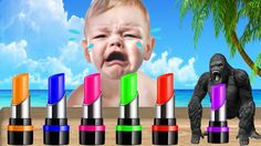 Funny Baby Learn Colors with Monkey Lipstick Children Song Finger Family...