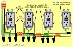 Wiring 20 amp double receptacle circuit breaker 120 volt circuit clear easy to read wiring diagrams for connecting multiple receptacle outlets including gfci and duplex receptacles asfbconference2016 Choice Image