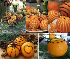 Carved Oranges and Cloves Table Decor - Would be great for fall/Thanksgiving/Christmas! Christmas Crafts, Christmas Decorations, Table Decorations, Christmas Ornaments, Orange Decorations, Orange Centerpieces, Holiday Centerpieces, Orange Candles, Orange Ornaments