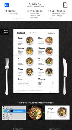 Minimalist Ramen & Rice Bowl Menu This menu is suitable for your Restaurant, Cafe, Food Truck, and Hotel. This menu is made in Pho Café Design, Food Menu Design, Food Poster Design, Food Truck Design, Design Room, Pizza Menu Design, Menu Restaurant, Japanese Restaurant Menu, Japanese Menu