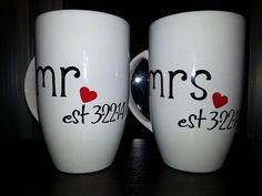 Mr and Mrs Coffee Mug Set One of a Kind Coffee by ByJusteenCrafts, $16.00