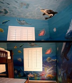 Under the sea bedroom 2 sets of twin bunkbeds 4 twin for Ocean bed meaning
