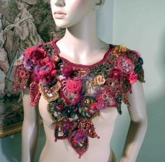 FALLEN LEAVES RHAPSODY - Unique Collar/Capelet, Signature Garment, Wearable Fiber Art, Richly Decorated, Freeform Crocheted via Etsy