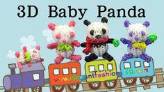 Rainbow Loom Panda/Teddy Bear Mini Charm - How to Loom Bands Tutorial Animal Rainbow Loom Tutorials, Rainbow Loom Patterns, Rainbow Loom Creations, Loom Band Animals, Rainbow Loom Animals, Rainbow Loom Christmas, Rainbow Loom Charms, Crazy Loom Bracelets, Loom Bands Tutorial