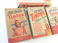Vintage Tintex Dye 4 Boxes Great Colors 1940s