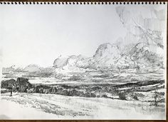 View East towards Dorking from Ranmore Common Pencil on Cartridge Paper www.nickhirst.co.uk