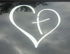 Beautiful heart with cross vinyl decal on Etsy listing at https://www.etsy.com/listing/163836685/vinyl-decal-heart-with-cross-in-center