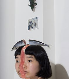 <p>Japanese photographer plays with the idea of selfie and surrealism, creating absurd and tongue-in-cheek visual compositions. Posing with baguettes on her head or an egg yolk dropping on her hair, t