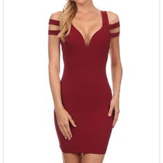 Sexy bodycon dress w/ sleeve cutouts Solid, thigh length short dress with v-neck and sleeve cutouts. 92% polyester 8% spandex Dresses Mini