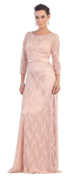 This elegant mother of the bride dress features 3/4 sleeve, floor length, beaded neckline, waistband and lace material. This dress is great for wedding, evening party and other special occasion. Fabric : Lace Zipper Back Length : Full Length Sleeve Style : 3/4 Sleeve Colors : Blush, Champagne, Aqua Sizes : M, L, XL, 2XL, 3XL, 4XL, 5XL Fully Lined Soft Cup Inserts Occasion : Formal, Evening Party, Mother of the Bride, Mother of the Groom, Church, Wedding Guest
