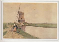 volendam molen a Holland Country, Tilting At Windmills, Windmill Art, Dutch People, Going Dutch, Hay Day, Le Moulin, Delft, Vintage Postcards