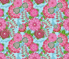 Pink Garden from Elephants In My Garden fabric by shellypenko on Spoonflower - custom fabric
