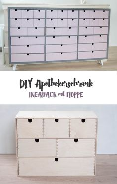 DIY apothecary cabinet from IKEA MOPPE cabinet to build- DIY Apothekerschrank aus IKEA MOPPE Schränkchen bauen IKEA Hack apothecary cupboard – self-made DIY furniture – clever storage – create storage space – order for small parts - Storage Hacks, Diy Storage, Cabinet Storage, Armoires Diy, Armoire Ikea, Diy Rangement, Apothecary Cabinet, Diy Casa, Diy Hanging Shelves