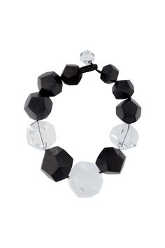 Ebony and clear acrylic and wood large faceted bead necklace from Monies. Made…