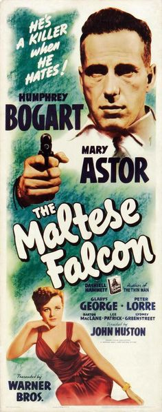 Movie poster, The Maltese Falcon (1941) starring Humphrey Bogart and Mary Astor