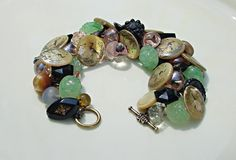 Button Bracelet Victorian Mother of Pearl and by 2Good2BeThrough