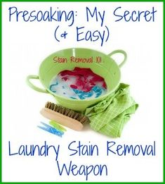 I love to presoak my kids' stained clothing. Simple but effective for removing stains, a perfect combination! {on Stain Removal 101}