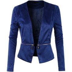 LE3NO Womens Fitted Suede Cropped Blazer Jacket with Detachable Hem ($34) ❤ liked on Polyvore featuring outerwear, jackets, light weight jacket, open front jacket, blue jackets, lined jacket and cropped jacket