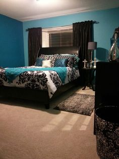 Blue & black bedroom