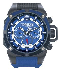 Technosport TS-100-14M Men's Watch Swiss Multifunction Royal Blue/Black Silicone Strap