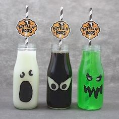 Bottles of boos - Spooky Halloween cocktails in fun decorated glasses!