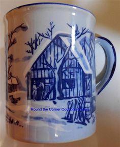 Vintage Blue & White Sanyei Winter Barn Scene Coffee Tea Mug
