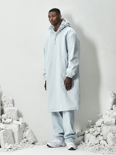 BERKHAN this is concep arctic iceblue base hooded long paka . ice-blue denim pants and nike airmax shoes