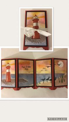 Screen Cards, High Tide, Backrounds, Light House, Paper Cards, Homemade Cards, Stampin Up Cards, Cardmaking, Fathers Day