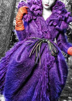 Not Ordinary Fashion is art — notordinaryfashion: Christian Dior Haute Couture. Christian Dior, Orange And Purple, Shades Of Purple, Purple Coat, Purple Haze, 50 Shades, Pink, Fashion Details, Look Fashion