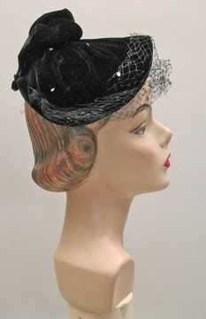 womens vintage hats | 1950s Black Velvet Doll Hat with Rhinestones