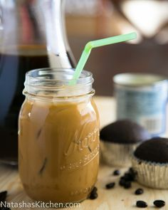 Iced Coffee with condensed milk. Similar to coffee house iced coffees only 100X better! I keep this in the fridge all summer long! @NatashasKitchen