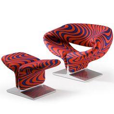 Artifort Pierre Paulin Ribbon Chair 1966 with Jack Lenor Larsen Momentum Blue Flame Upholstery