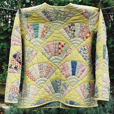Upcycling, from a quilt to a jacket: a Dresden Fan quilt from the 1970's was turned into a special jacket for a wedding rehearsal dinner