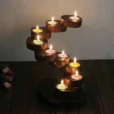 Nine layer wooden candlestick natural log stump wood base glass ornaments Home Furnishing candle holders send