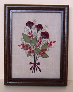 Framed Pressed Flowers / Oshibana. P/N 153 by PressedFlowersArt, $25.00