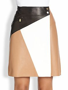 Michael Kors Leather Colorblock Skirt