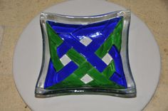 Celtic Earth and Sky Fused Glass Bowl by PennersGlass on Etsy