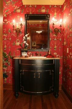 by M.E. Gardiner Interior Design - This Oriental wall covering is perfectly offset by the dramatic ebony vanity