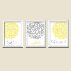 ★Relax Soak Unwind Yellow Grey Gray Flourish Dahlia Flower Artwork Set of 3 Bathroom Prints Wall Art Decor Picture Match ★Includes 3 unframed prints