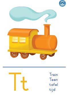 Met deze letterkaart leer je de letter T. Een voorbeeld van een woord dat begint met de letter T is trein. Op de letterkaart kun je zowel de hoofdletter T als de kleine letter T zien. Door de heldere opmaak en kleurrijke illustratie kun je zo de letter T leren. Tip: download ook de andere letterkaarten zodat je alle letters van het alfabet kunt leren.