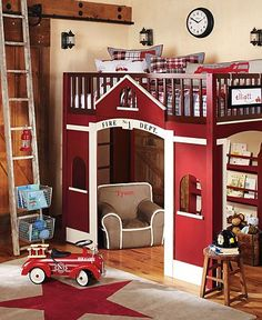 A fire truck themed bedroom makes your little one feel like they're at the fire station!