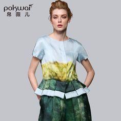 POKWAI High Quality Brand Clothing Silk Print Tshirts Women Designer O-Neck Short Puff Sleeve Casual Summer Chiffon Tops