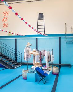 """MERCI, Paris, France, """"Its just you and the pool"""", (""""Bikini"""" an exihibition dedicated to the small swimsuit), pinned by Ton van der Veer #summer #pool"""