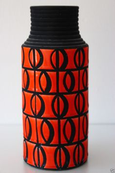 West German Circa 1950  floor standing  vase VERY TALL 35cm High x 15cm Diameter