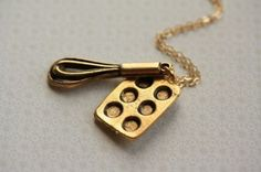 Whisk and Cupcake Pan Necklace - All Things Cupcake